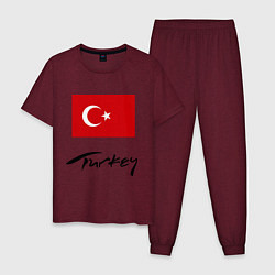 Пижама хлопковая мужская Turkey цвета меланж-бордовый — фото 1