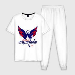 Пижама хлопковая мужская Washington Capitals: Ovechkin цвета белый — фото 1