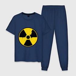 Пижама хлопковая мужская Радиоактивность цвета тёмно-синий — фото 1
