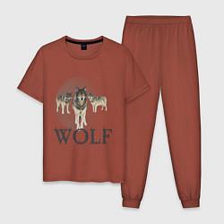 Пижама хлопковая мужская Wolf Pack цвета кирпичный — фото 1
