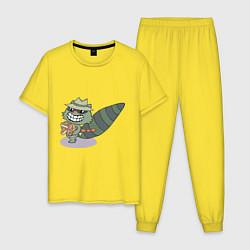 Пижама хлопковая мужская HTF: Lifty цвета желтый — фото 1