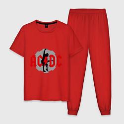 Пижама хлопковая мужская AC/DC: Angus Young цвета красный — фото 1