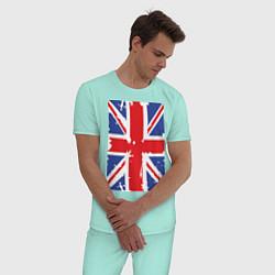Пижама хлопковая мужская Британский флаг цвета мятный — фото 2