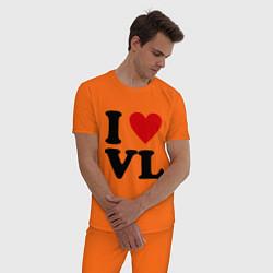 Пижама хлопковая мужская I love VL цвета оранжевый — фото 2