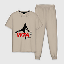 Пижама хлопковая мужская WTA Tour цвета миндальный — фото 1