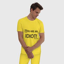 Пижама хлопковая мужская You are an idiot! цвета желтый — фото 2