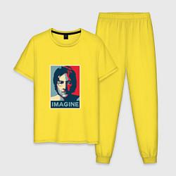 Пижама хлопковая мужская Lennon Imagine цвета желтый — фото 1