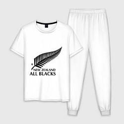 Пижама хлопковая мужская New Zeland: All blacks цвета белый — фото 1