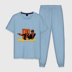Пижама хлопковая мужская Pulp Fiction цвета мягкое небо — фото 1