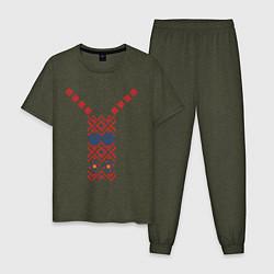 Пижама хлопковая мужская Узор славянского сарафана цвета меланж-хаки — фото 1