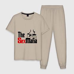 Пижама хлопковая мужская The SexMafia цвета миндальный — фото 1