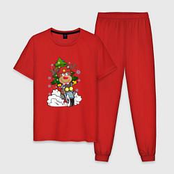 Пижама хлопковая мужская Олень на байке цвета красный — фото 1