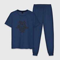 Пижама хлопковая мужская Сова в очках и свитере цвета тёмно-синий — фото 1