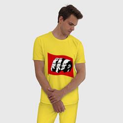 Пижама хлопковая мужская Маркс, Энгельс, Ленин цвета желтый — фото 2