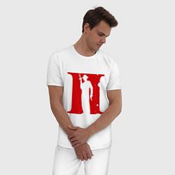 Пижама хлопковая мужская Мафия цвета белый — фото 2