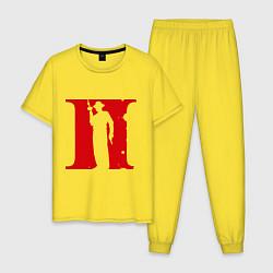 Пижама хлопковая мужская Мафия цвета желтый — фото 1