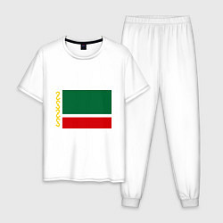 Пижама хлопковая мужская Чечня: флаг цвета белый — фото 1