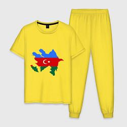Пижама хлопковая мужская Azerbaijan map цвета желтый — фото 1