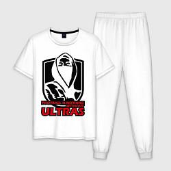 Пижама хлопковая мужская Football Ultras цвета белый — фото 1