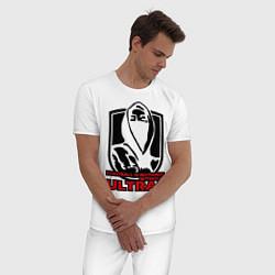 Пижама хлопковая мужская Football Ultras цвета белый — фото 2