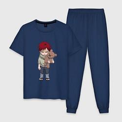Пижама хлопковая мужская Гаара цвета тёмно-синий — фото 1