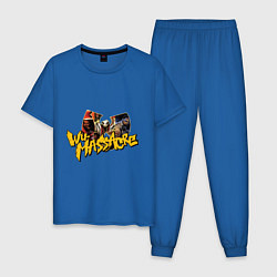 Пижама хлопковая мужская Wu - Massacre цвета синий — фото 1