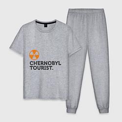 Пижама хлопковая мужская Chernobyl tourist цвета меланж — фото 1