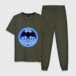 Пижама хлопковая мужская ВС РФ: Военная разведка цвета меланж-хаки — фото 1