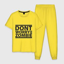Пижама хлопковая мужская Dont worry be zombie цвета желтый — фото 1