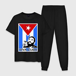 Пижама хлопковая мужская Fidel: Viva, Cuba! цвета черный — фото 1