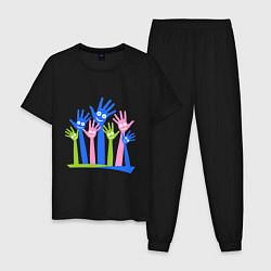 Пижама хлопковая мужская Hands Up цвета черный — фото 1
