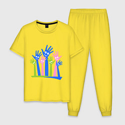 Пижама хлопковая мужская Hands Up цвета желтый — фото 1