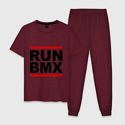 Пижама хлопковая мужская RUN BMX цвета меланж-бордовый — фото 1