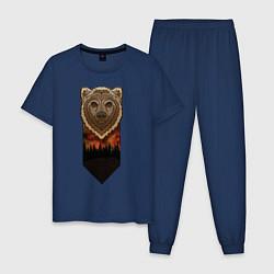 Пижама хлопковая мужская Медведь: владыка леса цвета тёмно-синий — фото 1