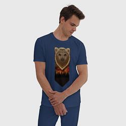 Пижама хлопковая мужская Медведь: владыка леса цвета тёмно-синий — фото 2