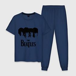 Пижама хлопковая мужская The Beatles: Faces цвета тёмно-синий — фото 1