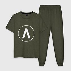 Пижама хлопковая мужская Archive цвета меланж-хаки — фото 1