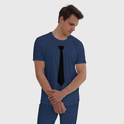 Пижама хлопковая мужская Галстук цвета тёмно-синий — фото 2