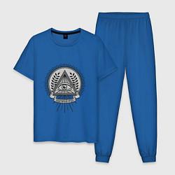 Пижама хлопковая мужская Новый Мировой Порядок цвета синий — фото 1