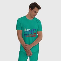 Пижама хлопковая мужская МЧС России цвета зеленый — фото 2