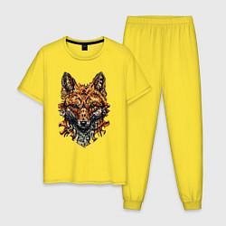 Пижама хлопковая мужская Голова древней лисы цвета желтый — фото 1