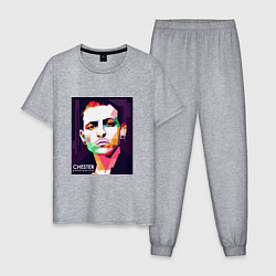 Пижама хлопковая мужская Chester Bennington Art цвета меланж — фото 1
