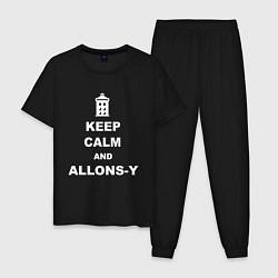 Пижама хлопковая мужская Keep Calm & Allons-Y цвета черный — фото 1
