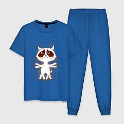 Пижама хлопковая мужская Кот да Винчи цвета синий — фото 1
