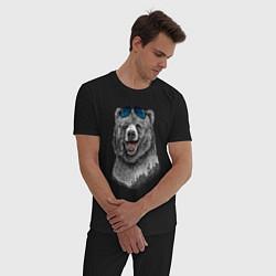 Пижама хлопковая мужская Медведь в очках цвета черный — фото 2