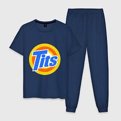 Пижама хлопковая мужская Tits (Титьки) цвета тёмно-синий — фото 1