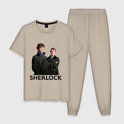 Пижама хлопковая мужская Sherlock цвета миндальный — фото 1