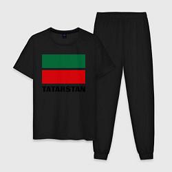 Пижама хлопковая мужская Флаг Татарстана цвета черный — фото 1