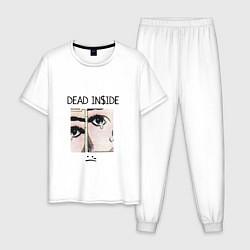 Пижама хлопковая мужская Dead Inside цвета белый — фото 1