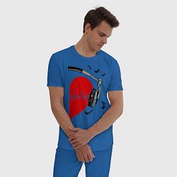 Пижама хлопковая мужская Влюбленный меломан цвета синий — фото 2